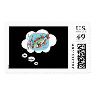 I'd rather be Fishing 5 Postage Stamp