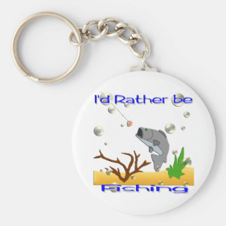 I'd Rather Be Fishing Basic Round Button Keychain
