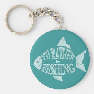 I'd Rather Be Fishing - cute fish design Basic Round Button Keychain
