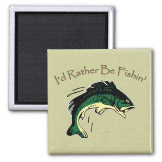 I'd Rather Be Fishing Digital Printed Art Design 2 Inch Square Magnet