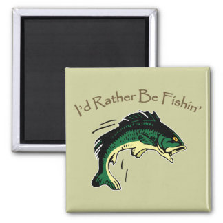 I'd Rather Be Fishing Digital Printed Art Design Magnet