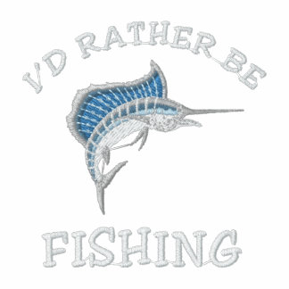 I'd rather be fishing embroidered polo shirt