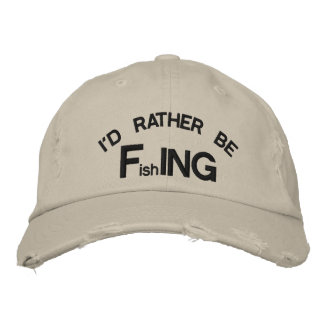 I'd Rather be FishING - Funny Fishing Embroidered Baseball Caps