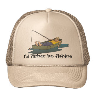 I'd rather be fishing - lazy boat day trucker hat