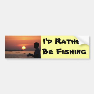 I'd Rather Be Fishing, man fishing in sunset Car Bumper Sticker
