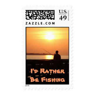 I'd Rather Be Fishing, man fishing in sunset Postage