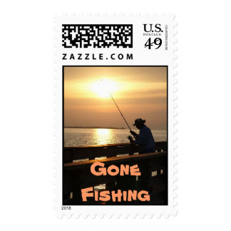 I'd Rather Be Fishing, man fishing in sunset Postage Stamp