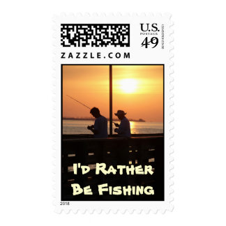 I'd Rather Be Fishing, men fishing in sunset Stamp