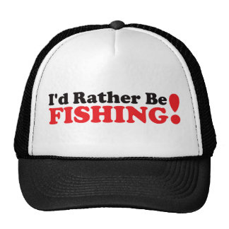 I'd Rather be Fishing - Red Trucker Hats