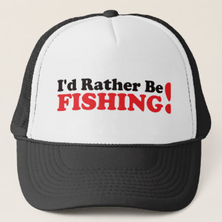 I'd Rather be Fishing - Red Trucker Hat
