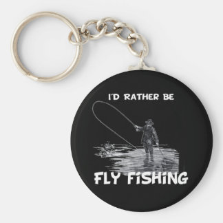 Id Rather Be Fly Fishing Basic Round Button Keychain
