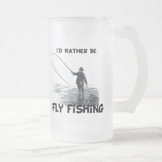 Id Rather Be Fly Fishing Frosted Glass Beer Mug