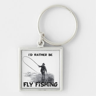 Id Rather Be Fly Fishing Silver-Colored Square Keychain