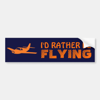 I'd Rather Be Flying orange navy bumpersticker Bumper Sticker