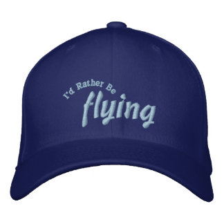I'd Rather Be Flying Pilot Hat Embroidered Baseball Cap