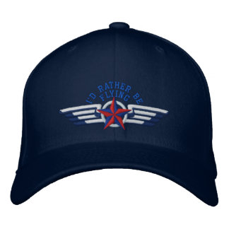I'd rather be flying Star Badge Pilot Wings Embroidered Baseball Hat