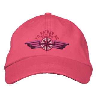 I'd rather be flying Star Compass Pilot Wings Embroidered Baseball Cap