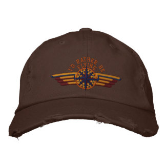 I'd rather be flying Star Compass Pilot Wings Embroidered Baseball Hat