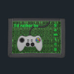 """I&#39;d Rather Be Gaming - Code and Game Controller Trifold Wallet<br><div class=""""desc"""">A cool design for those who love to play video games with a vector graphic of a controller in grey and the text: I&#39;d rather be gaming. The background is a bright green on black faux computer game code made up of various symbols.</div>"""