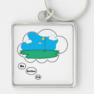 I'd rather be Golfing 2 Silver-Colored Square Keychain