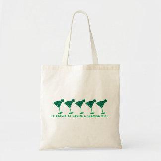 I'd rather be having a shamrocktini. tote bag