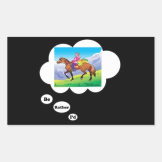 I'd rather be Horseback Riding 2 Rectangular Sticker