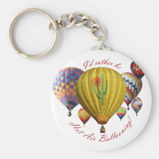 I'd Rather Be Hot Air Ballooning!!! Basic Round Button Keychain