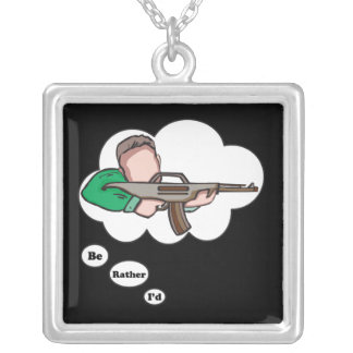 I'd rather be Hunting 8 Square Pendant Necklace