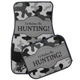 I'd Rather Be (Hunting) Camouflage Personalized Car Mat