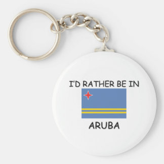 I'd rather be in Aruba Basic Round Button Keychain