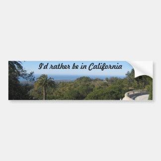I'd Rather Be In California Car Bumper Sticker