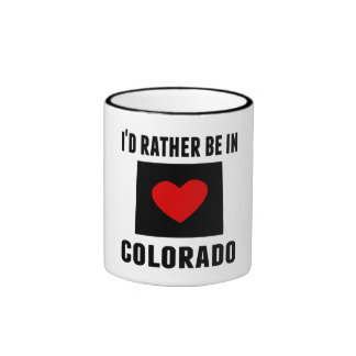 I'd Rather Be In Colorado Ringer Coffee Mug