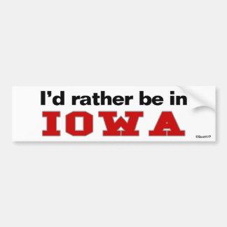 I'd Rather Be In Iowa Car Bumper Sticker