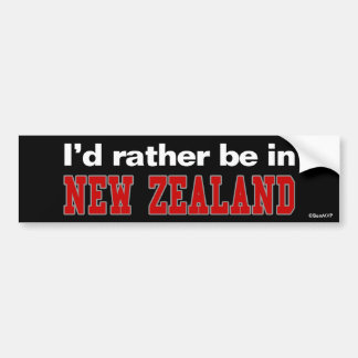 I'd Rather Be In New Zealand Bumper Sticker
