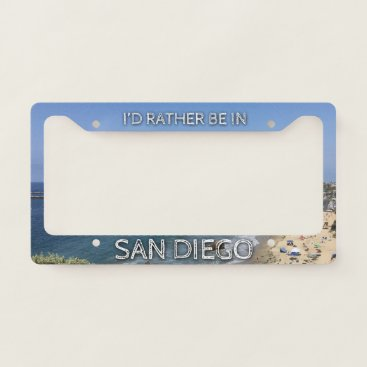Beach Themed I'd Rather Be In San Diego License Plate Frame