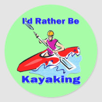 I'd Rather Be Kayaking 1 Classic Round Sticker