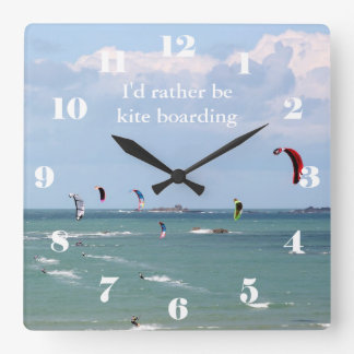 I'd rather be kite boarding square wall clock