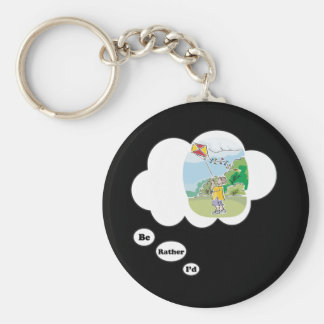 I'd rather be Kite Flying 4 Basic Round Button Keychain