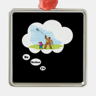 I'd rather be Kite Flying Metal Ornament