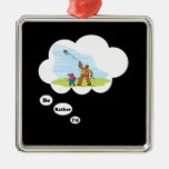 I'd rather be Kite Flying Square Metal Christmas Ornament