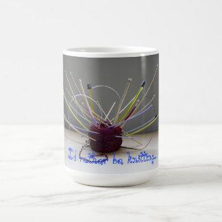 I'd rather be knitting mug. coffee mug