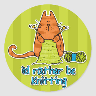 i'd rather be knitting classic round sticker