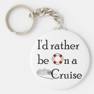 I'd Rather Be On A Cruise Basic Round Button Keychain
