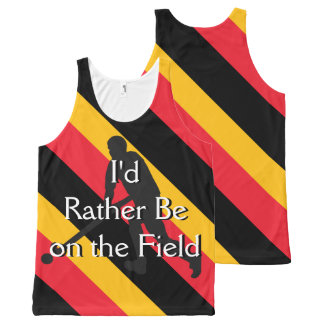 I'd Rather Be on the Field (Hockey) Black Red Gold All-Over-Print Tank Top