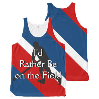 I'd Rather Be on the Field (Hockey) Blue Red White All-Over-Print Tank Top