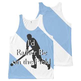I'd Rather Be on the Field (Hockey) Blue & White All-Over-Print Tank Top