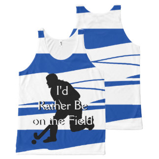 I'd Rather Be on the Field (Hockey) F Blue & White All-Over-Print Tank Top