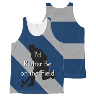 I'd Rather Be on the Field (Hockey) F Navy & Gray All-Over-Print Tank Top