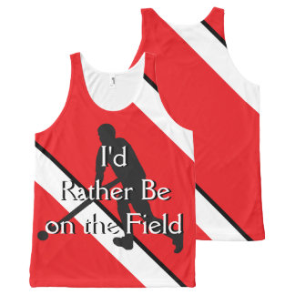 I'd Rather Be on the Field (Hockey) Red and White All-Over-Print Tank Top