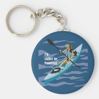 I'd Rather Be Paddling Basic Round Button Keychain